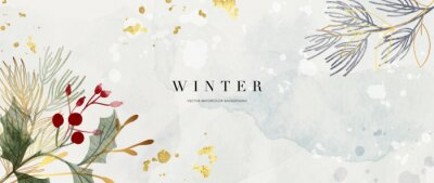 Fototapeta Winter background design  with watercolor brush texture, Flower and botanical leaves watercolor hand drawing. Abstract art wallpaper design for wall arts, wedding and VIP invite card.  Vector EPS10