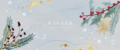 Fototapeta Winter background vector. Hand painted watercolor and gold brush texture, Flower and botanical leaves hand drawing. Abstract art design for wallpaper, wall arts, cover, wedding and  invite card.