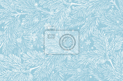 Fototapeta Winter holidays background with pine branches and snowflakes. Winter card design.