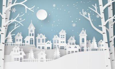 Fototapeta Winter Snow miejski krajobraz wsi Miasto Wioska z ful lm