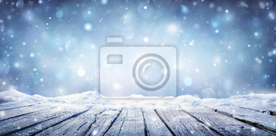 Fototapeta Winter Table - Snowy Plank With Snowfall In The Cold Sky
