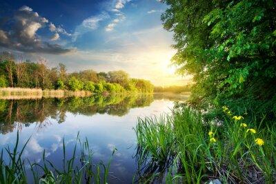 Fototapeta Wiosna rzeki o zachodzie słońca