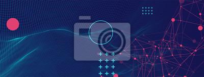 Fototapeta Wireframe background with plexus effect. Futuristic vector illustration.