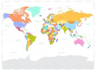 Fototapeta Witam Szczegóły kolorowe Polityczna mapa świata wektor ilustracji