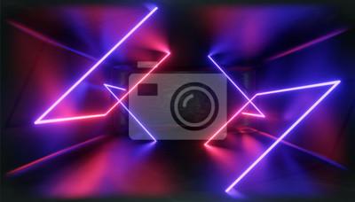 Fototapeta Wizualizacja 3D. Figura geometryczna w świetle neonowym na ciemnym tunelu. Laserowa poświata.