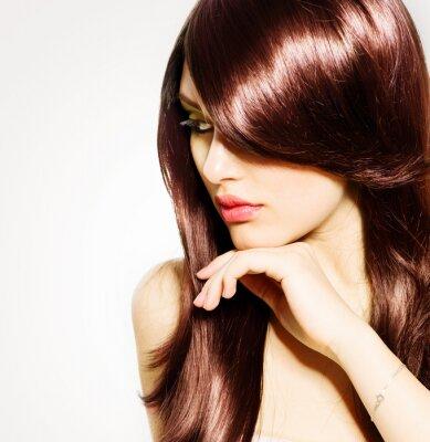Fototapeta Włosów. Piękna brunetka dziewczyna ze zdrowych włosów długich Brown