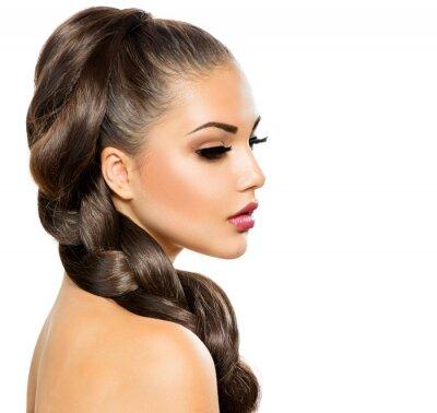 Fototapeta Włosy Braid. Piękne kobiety z zdrowych długie włosy
