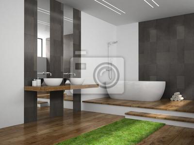 Wnętrze łazienka Z Trawy Podłogi Renderingu 3d Fototapety Redro