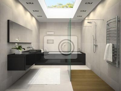 Wnętrze łazienki Z Oknem Sufit Renderingu 3d Fototapety Redro