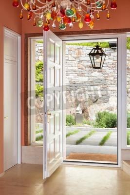 Fototapeta Wnętrze, luksusowa willa, wejście, drzwi otwarte