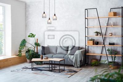 Fototapeta Wnętrze nowoczesnego salonu z wygodną sofą
