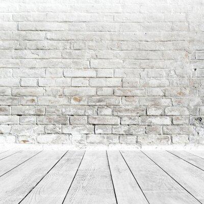 Fototapeta Wnętrze pokój z cegły ściany i podłogi biały drewna