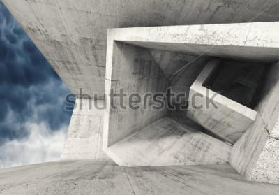 Fototapeta Wnętrze pokoju betonowego z chaotycznych struktur sześciennych i ciemne pochmurne niebo na zewnątrz. Połączenie architektury tła, 3d ilustracja