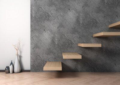 Fototapeta Wnętrze schodów z drewna i ceramiki wazonie. 3d ilustracji