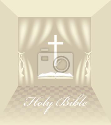 wnętrze z chrześcijańskich symboli