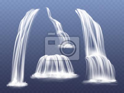 Fototapeta Wodospad lub woda kaskada ilustracji wektorowych. Na białym tle realistyczny zestaw płynących strumieni spadających ze skał górskich z rozprysków i odprysków na przezroczystym tle