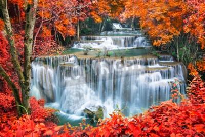 Fototapeta Wodospad w lesie jesienią