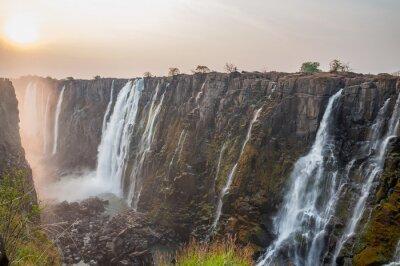 Fototapeta Wodospady Wiktorii od strony Zambii słońca, czerwone słońce