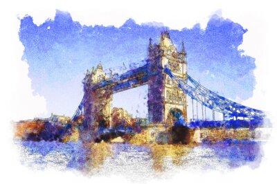 Fototapeta wody kolorowe zdjęcie Tower Bridge w Londynie