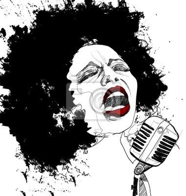 Fototapeta wokalistka jazzowa na białym tle