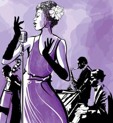 wokalistka jazzowa z saksofon, kontrabas i fortepian