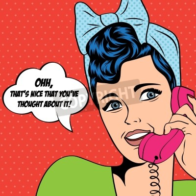 Fototapeta woman chatting on the phone, pop art illustration in vector format
