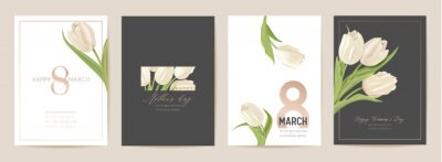 Fototapeta Woman day 8 March holiday card. Spring floral vector illustration. Greeting realistic tulip flowers template