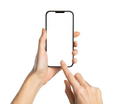 Fototapeta Woman hand using smartphone isolated on white background