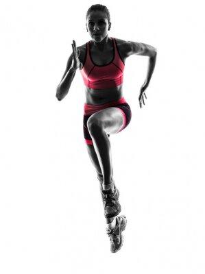 Fototapeta woman runner running jogger jogging  silhouette