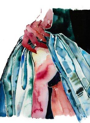 Fototapeta Woman showing buttocks in teasing pose hand drawn watercolor illustration