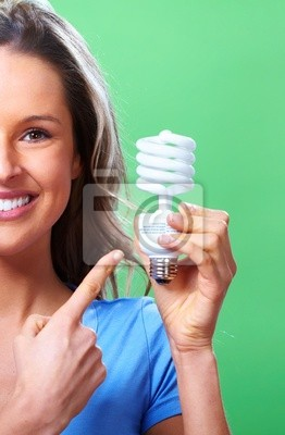 Fototapeta Woman with a fluorescent bulb