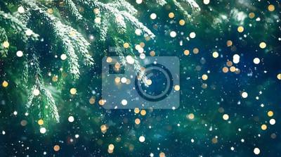 Fototapeta Wonderful Christmas Background with fresh fir tree
