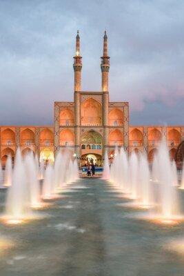 Fototapeta Wonderful evening view of the Amir Chakhmaq Complex and fountain