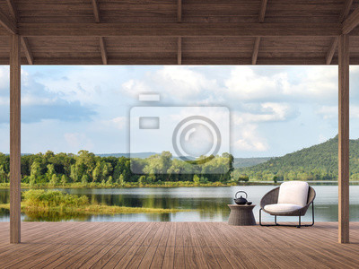 Fototapeta Wood terrace with beautiful lake and mountain view 3d render,There are old wood terrace floor,Decorate with rattan lounge chair,Surrounded by nature