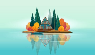 Fototapeta Wooden A-frame house surrounded by fir trees and bushes and a boat near the shore  on a small island on the lake. Lake island is reflected in the water. Flat vector illustration