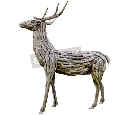 Fototapeta wooden deer made from nature material, handmade