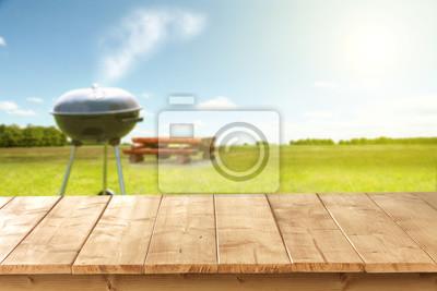 Fototapeta wooden desk and grill