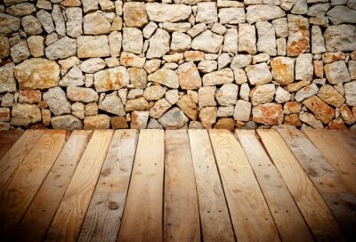 Fototapeta wooden slats with stone wall