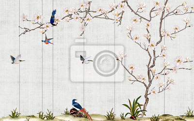 Fototapeta Wooden wall, thin curved flowering magnolia tree, flock of blue birds