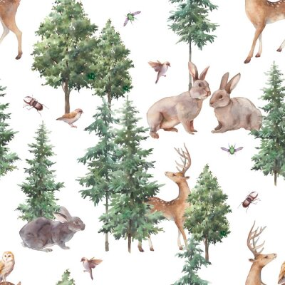 Fototapeta Woodland seamless pattern. Watercolor forest repeating texture with wild animals and trees.