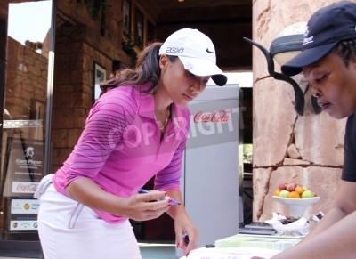 Fototapeta WOODS, Cheyenne - 17 LISTOPADA: Profesjonalny golfista Gary Player gra na Charytatywny Turniej Golfowy Invitational zalogowaniu się przed tee-od 17 listopada 2013, Sun City, RPA. Cheyenne Woods jest s