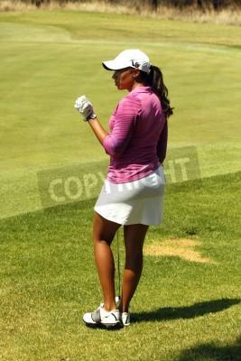 Fototapeta WOODS, Cheyenne - 17 LISTOPADA: Profesjonalny gracz gra w Gary Player Charity Golf Tournament Invitational czeka na zielone kolei 17 listopada 2013, Sun City, RPA. Cheyenne Woods jest siostrzenicą Tig