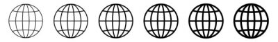 Fototapeta World Icon Black | Earth Illustration | Globe Symbol | Planet Logo | World Wide Web Sign | Isolated | Variations