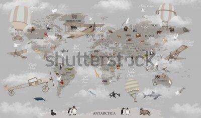Fototapeta world map animals for kids room wallpaper design
