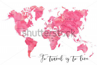 Fototapeta World map filled with pink watercolour effect and country names, with plenty of space to insert your own quote under the image.