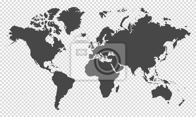 Fototapeta world map on transparent background