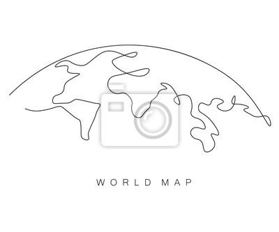 Fototapeta World map outline, eart day concept, vector illustration