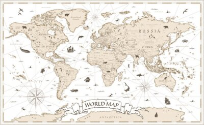 Fototapeta World Map Vintage Cartoon Detailed - vector