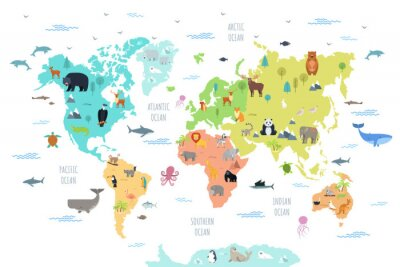 Fototapeta World map with wild animals living on various continents and in oceans. Cute cartoon mammals, reptiles, birds, fish inhabiting planet. Flat colorful vector illustration for educational poster, banner.