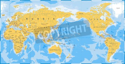 Fototapeta World map yellow blue, Asia in Center vector.